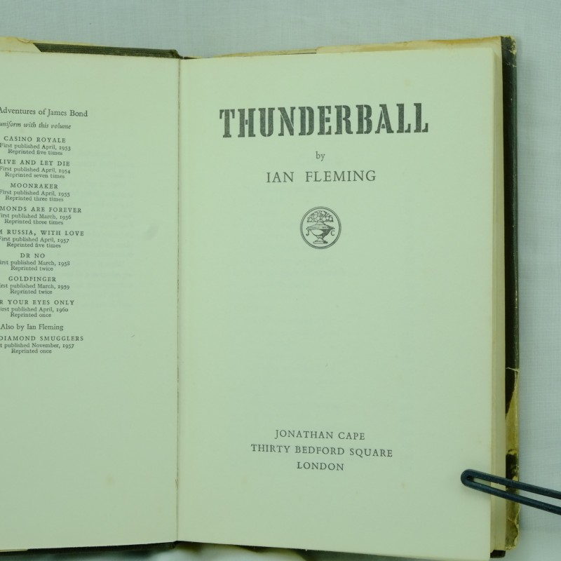 Thunderball First Edition By Ian Fleming Rare And Antique