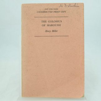 Uncorrected proof of The Colossus of Maroussi by Henry Miller