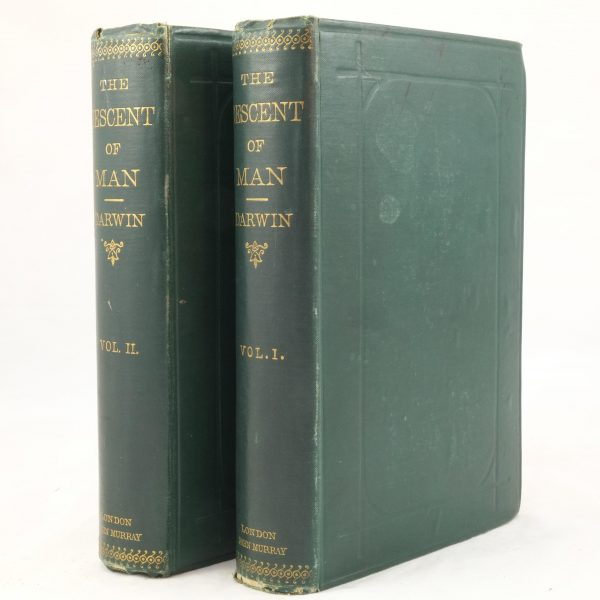 The Descent Of Man by Charles Darwin 1st US Edition 2 Volumes [Appleton 1871]